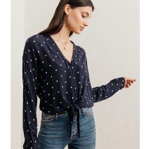 RAILS Sloane polka dot tie front shirt